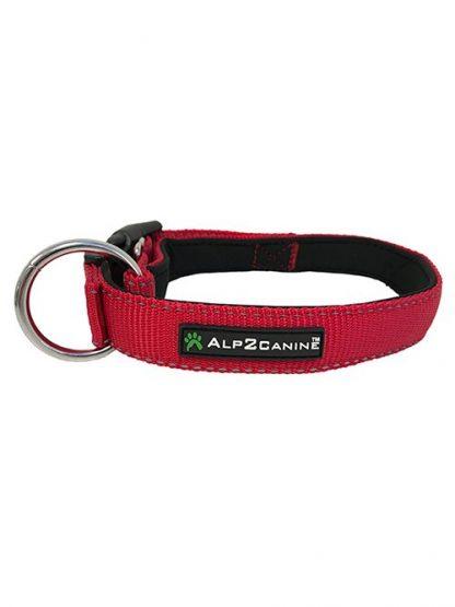 podložena ovratnica za pse neopren rdeča odsevne niti mehka trpežna