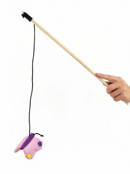 Igrača za mačke na palici metulj beatrice roza elastika