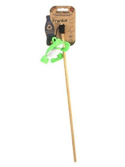 mačja igrača na palici zelena žaba beco na elastiki