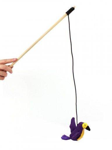 igračka za mačke na palici z elastiko kolibri huma