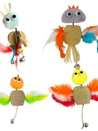 mačja igračka wacko odlična interkativna zvonček vrv mačja meta perje