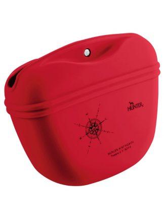 rdeča silikonska torbica za pasje priboljške z zatičem za pas odpiranje na magnet