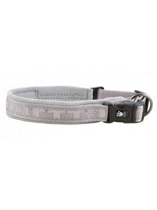 podložena ovratnica za pse siva klasična lahka trpežna varna