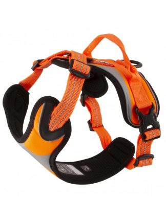 fluorescentna oprsnica za pse podložena z ročajem robustna kvalitetna oranžna