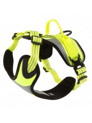 fluorescentna oprsnica za pse podložena odsevniki robustna dobro vidna rumena