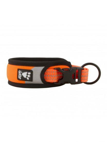 ovratnica za pse dazzle podložena odsevna fluorescentna oranžna mehka široka