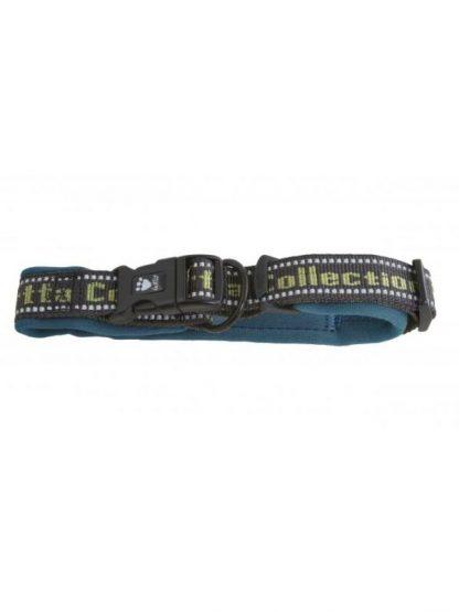 pasja ovratnica modra podložena z odsevniki juniper modra zelen napis široka varna kvalitetna