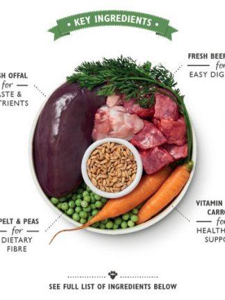 Lilys Kitchen organska večerja za pse prikaz sestavin organic beef supper