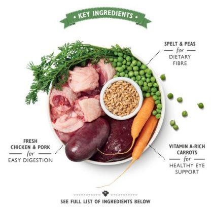 Lilys Kitchen organska večerja za pse piščanec in pira prikaz sestavin organic chicken supper