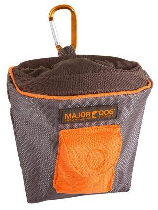 torbica za priboljške major dog siva s karabinom in žepkom