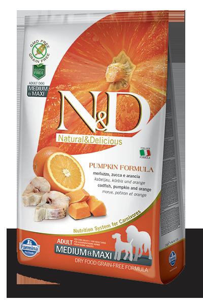 N&D hrana za pse medium &maxi polenovka in buča