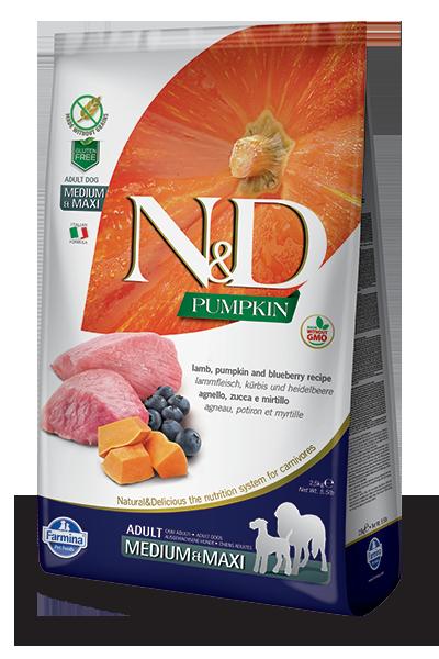 N&D hrana za pse jagnjetina in buča medium & maxi