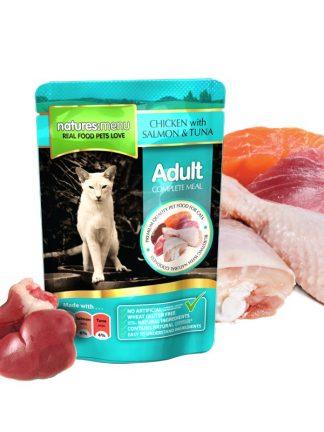mokra hrana za mačke popolna piščanec losos tuna v vrečki