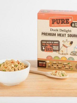 Pure duck delight izgled pripravljenega obroka za pse