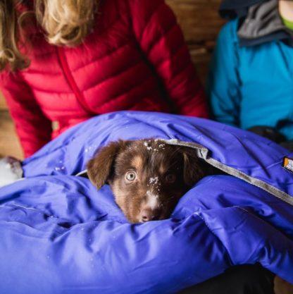 odeja za pse ruffwear modra mladiček avstralski ovčar sneg topla lahka