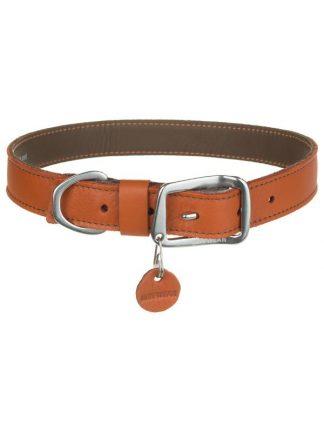 lahka trpežna kvalitetna usnjena ovratnica za pse oranžna aluminijasta