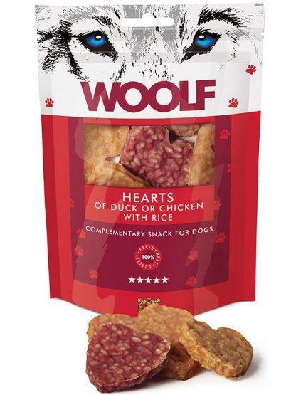 Woolf priboljški za pse mesni raca piščanec srčki