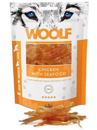 Woolf priboljški za pse in mačke piščanec morski sadeži trakci