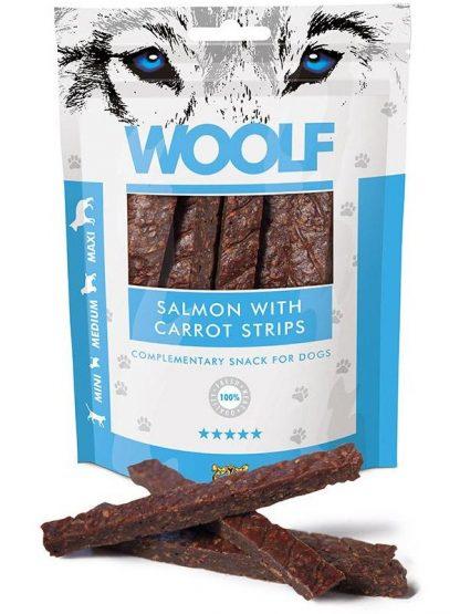 Woolf losos in korenček palčke iz mesa za pse