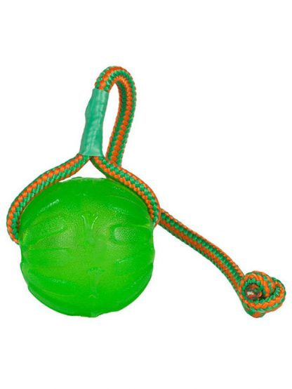 trpežna gumijasta žoga na vrvi za pse