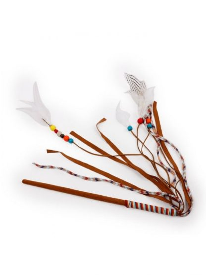 all for paws mačja igrača s peresi in vrvicami na palici