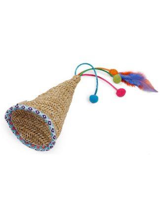 all for pets fiesta slamnik mačja igračka z mačjo meto in peresi